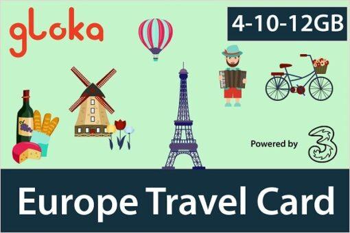 Europe prepaid sim card three uk 4-12GB Gloka