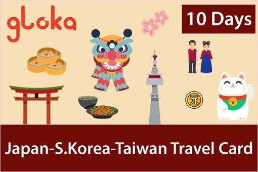 Japan Korea Taiwan travel sim card gloka