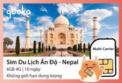 Sim du lịch Ấn Độ Nepal Gloka