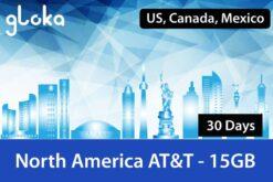 North America Travel Sim Card ATT 15GB