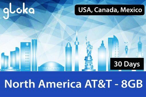 Sim Canada Mỹ Mexico AT&T 30 Ngày 8GB