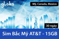 Sim Canada Mỹ Mexico AT&T 30 Ngày 15GB