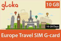 europe travel sim card 10GB 10 days to 28 days gloka