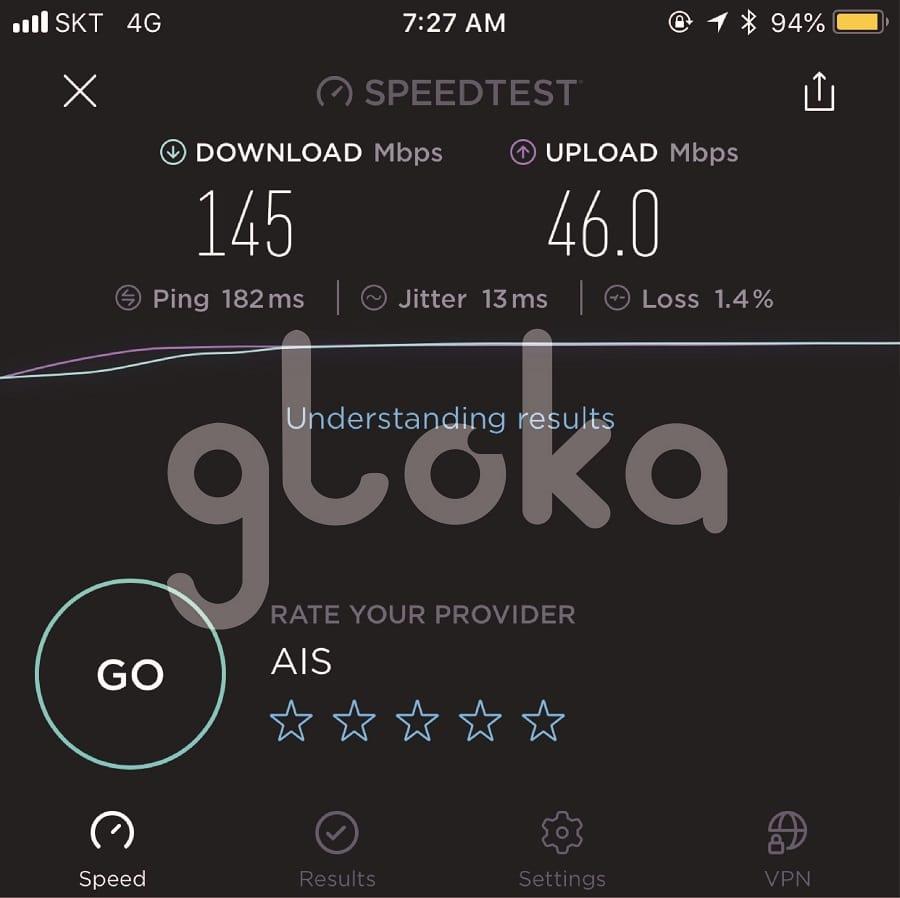 Tốc độ sim 4G Hàn Quốc speedtest