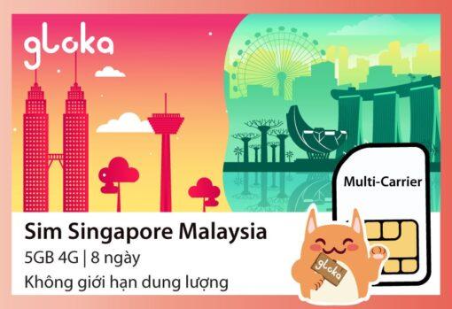 Sim du lịch Malaysia Singapore Gloka