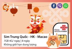 Sim Trung Quốc Hongkong Macao 8 ngày China Unicom Gloka