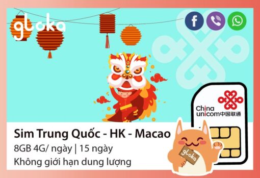 Sim data Trung Quốc Hongkong Macao 15 ngày China Unicom Gloka