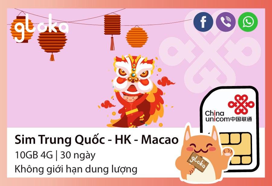 Sim điện thoại Trung Quốc Hongkong Macao 30 ngày China Unicom Gloka
