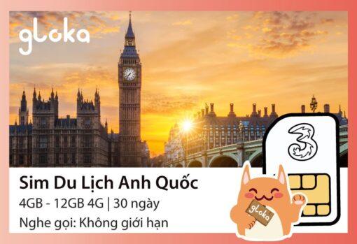 Sim du lịch Anh Quốc Three Gloka