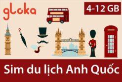 Sim du lịch Anh Quốc Three UK Gloka