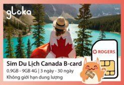 Sim du lịch canada b-card Gloka