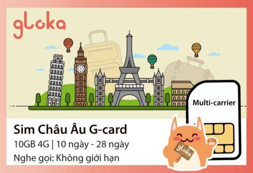 Sim du lịch châu Âu G-card Gloka