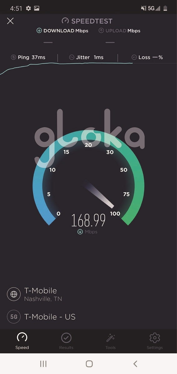 Tốc độ sim 5G Mỹ T-Mobile speedtest