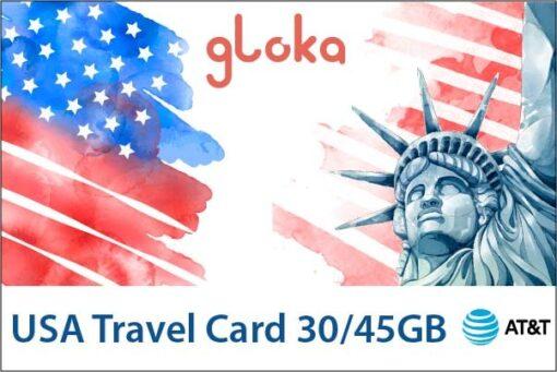 USA travel card data only W-card 30GB/ 45GB