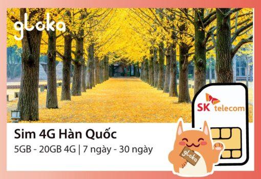 Sim 4G Hàn Quốc SK Telecom Gloka