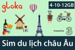 Sim du lịch châu Âu three 4GB-12GB Gloka
