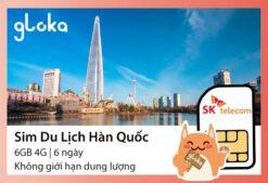 Sim du lịch hàn Quốc SK Telecom Gloka