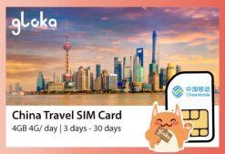 China Travel SIM CARD China Mobile 4GB per day