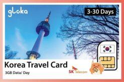 Korea travel sim card 3GB/day gloka