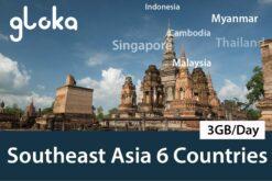southeast asia 6 countries travel sim card gloka