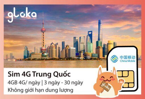 Sim 4G Trung Quốc 4GB/ ngày Gloka