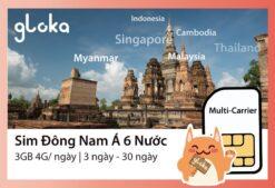 Sim Đông Nam Á 6 nước Gloka