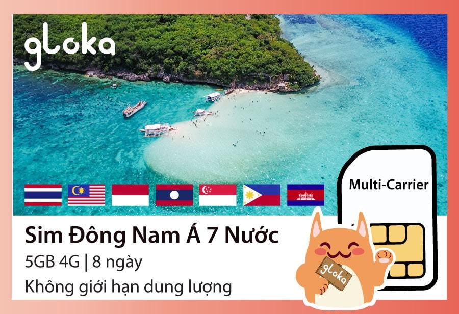 Sim du lịch Đông Nam Á 7 nước Gloka