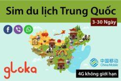Sim du lịch Trung Quốc 4G Không giới hạn china mobile gloka