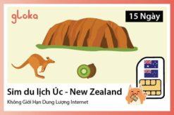Sim du lịch Úc New Zealand không giới hạn dung lượng