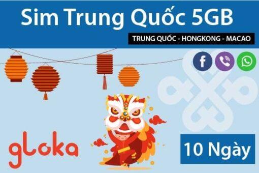 Sim Trung Quốc 5GB 10 ngày gloka