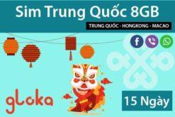 Sim Data Trung Quốc 15 ngày China Unicom Gloka