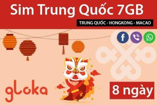 Sim du lịch Trung Quốc 7GB 8 ngày