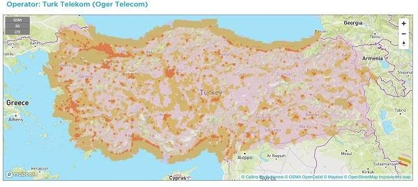 Phủ sóng của nhà mạng Turk telekom