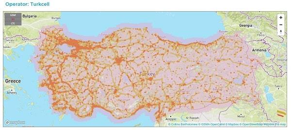 Phủ sóng của nhà mạng Turkcell