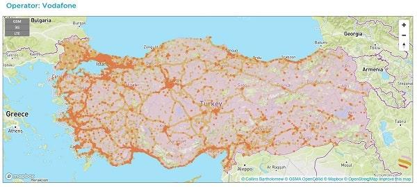 Phủ sóng của nhà mạng Vodafone Thổ Nhĩ Kỳ