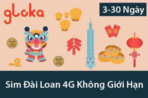 Sim du lịch Đài Loan 4G Không Giới Hạn 3 ngày đến 30 ngày Gloka