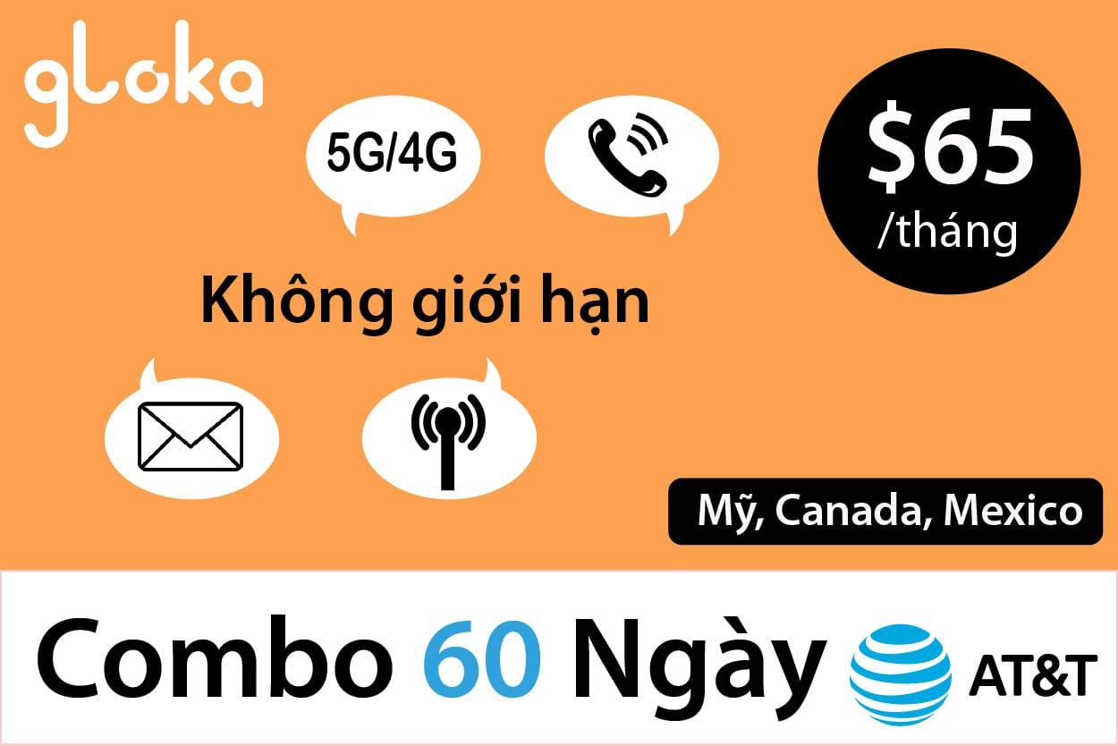 Sim Mỹ dài hạn AT&T gói $65 Combo 60 Ngày