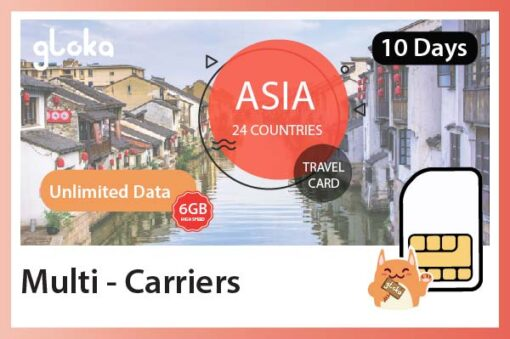 aisa 24 countries travel sim card gloka