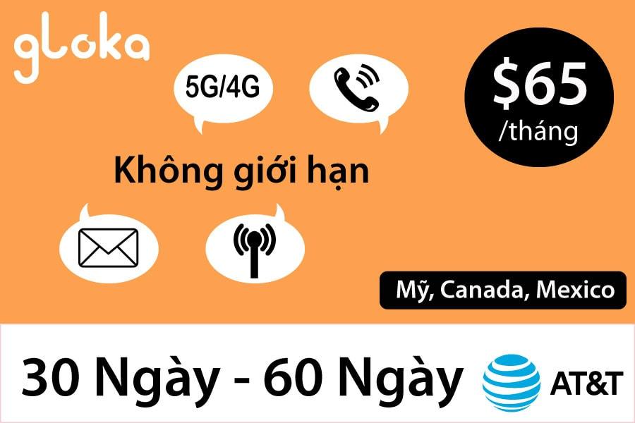 Sim Mỹ AT&T Gói $65