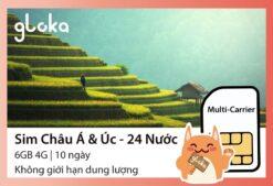 Sim du lịch Châu Á 24 nước Gloka