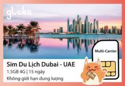 Sim du lịch Dubai UAE Gloka