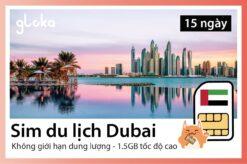 Sim du lịch Dubai - UAE gloka