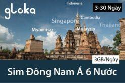 Sim du lịch đông nam á 6 nước 3GB/ngày Gloka