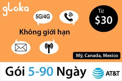 sim 4G AT&T bắc mỹ 5-90 ngày