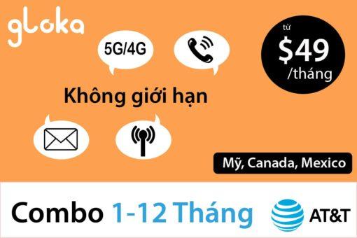 Sim định cư AT&T 4G không giới hạn gói $65